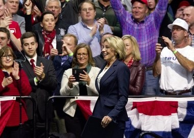 """Betsy DeVos, Trump's pick to become education secretary, speaks as part of Trump's """"USA Thank You Tour"""" at the DeltaPlex in Walker on Friday, Dec. 9, 2016. (Cory Morse 