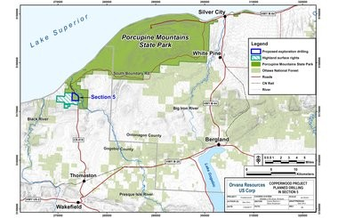 A map shows land ownership and the location of the exploratory drilling for the Copperwood project in Section 5, west of Gogebic County Road 519, at Porcupine Mountains Wilderness State Park.