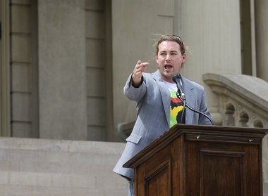 MI Legalize Chair Jeff Hank speaks during a rally at the State Capitol building in Lansing on Friday, May 20, 2016. The campaign gathered together for one last push for petition signatures to put the legalization of marijuana on the ballot in November.