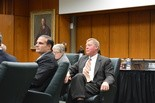 Michigan State University Board of Trustees Chair Brian Breslin listens to a speaker at the Board of Trustees meeting Friday, Feb. 19.