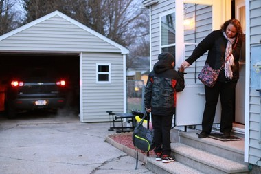 Davon Pawlowski leaves to catch the school bus from his home in Kalamazoo's east side to Woodward in downtown Kalamazoo. Tammy Pawlowski believes Woodward School for Technology and Research should remain open. She says the school is giving her son a good education, and it's wrong for the state to put Woodward at risk for closure because it placed, based on state test scores, in the bottom 5 percent of school statewide. (Mark Bugnaski/MLive.com)