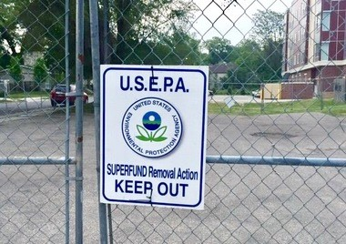 The EPA fenced off the corner of Hall & Madison in Grand Rapids in May 2016 during a vapor intrusion investigation.