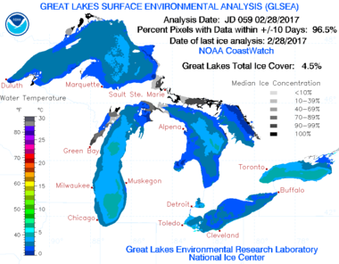 Great Lakes ice cover was 4.5 percent on Feb. 28. 2017.