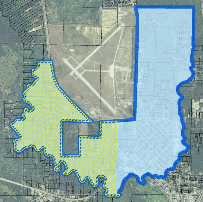Map showing boundary of Michigan DEQ investigation into PFAS compounds (also called PFCs) near the Grayling Army Airfield.