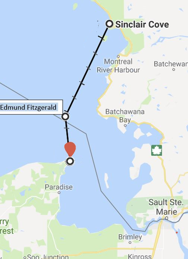 The appropriate route the trio will take across Lake Superior this July crosses over the wreck of the Edmund Fitzgerald.