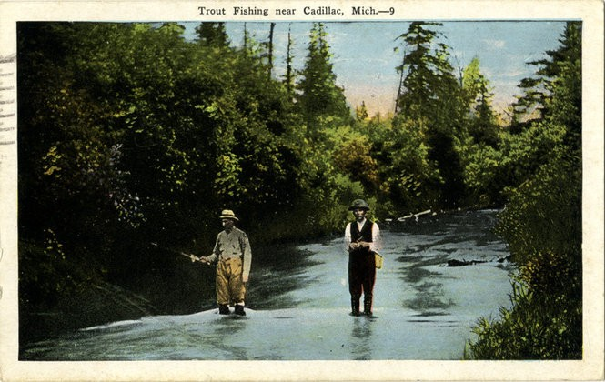 Old-timey photos of fishing in Michigan lakes and streams