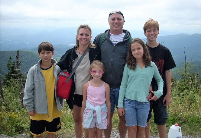 Audrey Tenaglia with her husband Michel and their children in August 2008, four months before Audrey's death from colon cancer at age 42. From the left, Glenn, 12; Audrey; Silvana, 7; Mike; Serafina, 10; and Rocco, 14. (Photo courtesy of Mike Tenaglia)