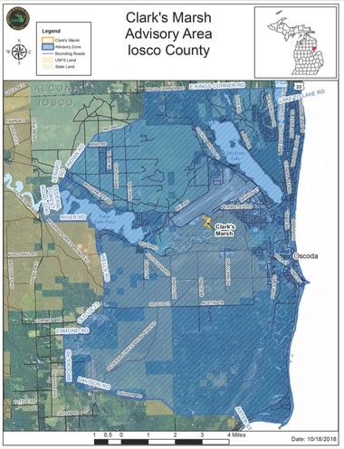 "A five-mile ""Do Not Eat"" deer advisory radius encircles the former Wurtsmith Air Force Base property in Oscoda and covers what the DNR has estimated to be the expected travel range of deer living in or near Clark's Marsh which may have high blood levels of PFAS."