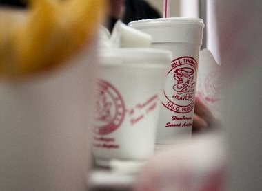 A Bill Thomas Halo Burger cup sits on a table at Halo Burger in downtown Flint in this Flint Journal file photo.