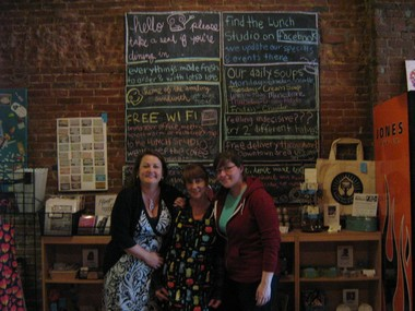 Amy Krug, Tracey Whelpey and Crystal Pepperdine (left to right) stand in Whelpey's restaurant, The Lunch Studio.