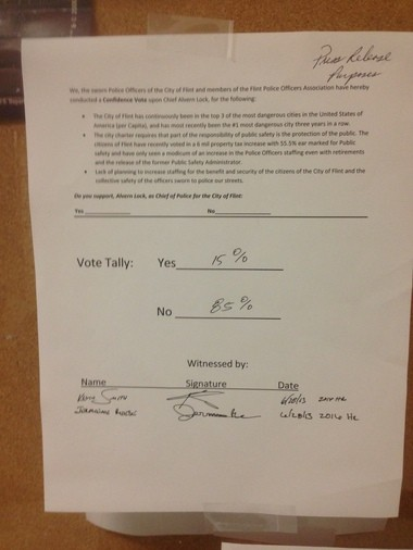 The results of the Flint Police Officers Association vote of no confidence for Chief Alvern Lock.