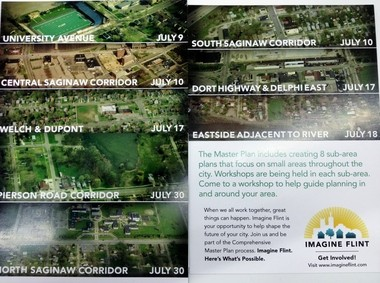 There will be eight sub-area plans that zoom in on small areas throughout the city during Flint's master planning process. There will be community workshops in the next three weeks to work on these plans.