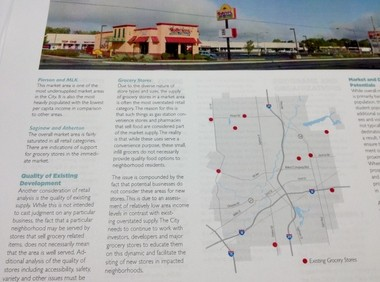 This photo shows a part of Flint's draft master plan that discusses more grocery stores and neighborhood centers at various spots along Saginaw Street on Flint's north side.