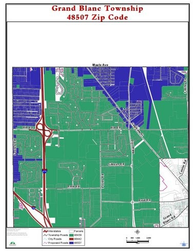 A map of the 48507 ZIP code area in Grand Blanc Township that supporters are working to change its mailing address from Flint to Grand Blanc.
