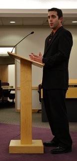 Adam Zettel is interviewed by Swartz Creek City Council for the city manager position, Tuesday, Dec. 3, 2013. Chris Aldridge | MLive.com