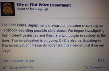 Flint police have three people in custody after a video showing a boy being beaten with a belt more than 60 times was shared around 800 times on Facebook. Police were alerted to the video Friday, April 5, the day the video was uploaded to the social media site.