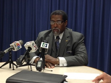Flint emergency manager Darnell Earley speaks at a news conference today, April 17, inside Flint City Hall.