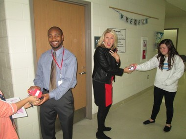 Treat bags featuring inspirational quotes from Blueberry Ambassadors at Grand Blanc East Middle School during parent-teacher conference week.