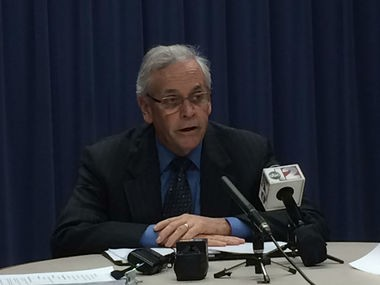 Flint emergency manager Jerry Ambrose speaks during a news conference today, Jan. 29.