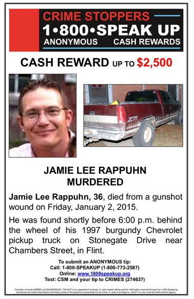 Crime Stoppers is offering up to $2,500 for information that leads to an arrest in the shooting death of 36-year-old Jamie Lee Rappuhn.