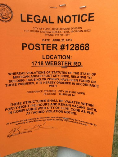 The city of Flint posted this condemnation notice at Ambassador East mobile home park today, April 21.
