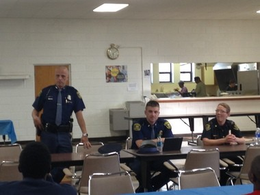 Trooper Steve Kramer and Lt. Ryan Pennell from the Michigan State Police along with Captain Leigh Golden from the Flint Police Department answered questions from the public during a community meeting held Thursday, May 21. The meeting was held at the Mt. Olive Missionary Baptist Church in Flint.