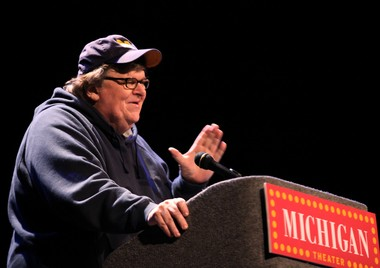 Michael Moore speaks to a crowd of nearly 800 at the Michigan Theater in 2012.