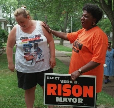Vera B. Rison on the campaign trail for mayor in a 1999 Flint Journal file photo.