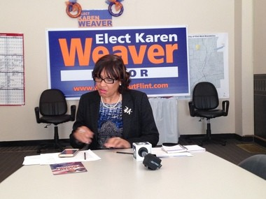 Flint mayoral challenger Karen Weaver spoke at a news conference Friday, Sept. 25 praising the medical community for coming forward with information highlighting the high lead levels in Flint's water.