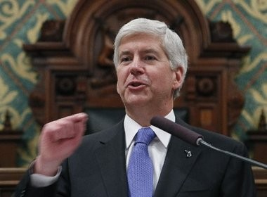 Michigan Gov. Rick Snyder delivers his 2015 State of the State address in this Associated Press file photo.