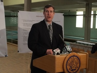 Flint Mayor Dayne Walling speaks during a news conference at the Flint Water Plant in this Flint Journal file photo.