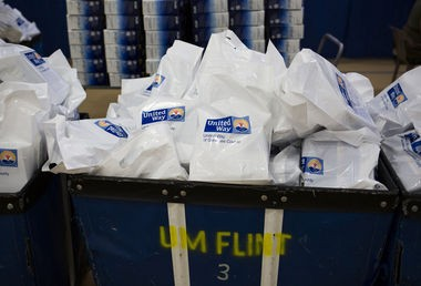 Water filters that were part of a distribution at the University of Michigan-Flint are shown in this Flint Journal file photo.