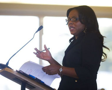 Flint City Administrator Natasha Henderson addresses the Flint City Council in a meeting last month regarding city water in this Flint Journal file photo.