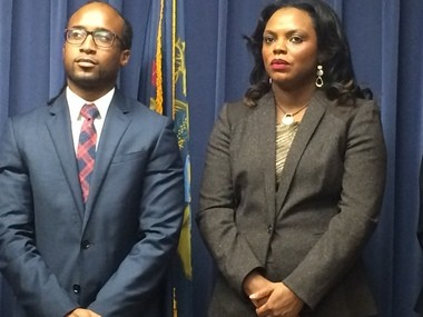 New Flint Director of Planning and Development Brian Larkin and City Administrator Natasha Henderson are shown during a news conference to announce Larkin's appointment today, Oct. 28.