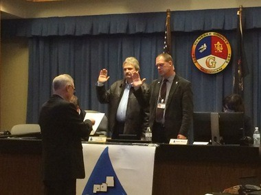 Jamie Curtis and Greg Alexander are voted in as the new vice chairman and chairman of the Karegnondi Water Authority board on Wednesday, Nov. 25.