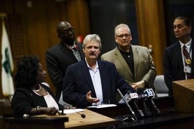 Genesee County Commissioner Jamie Curtis speaks during a press conference about Flint water on Oct. 1, 2015, in this Flint Journal file photo.