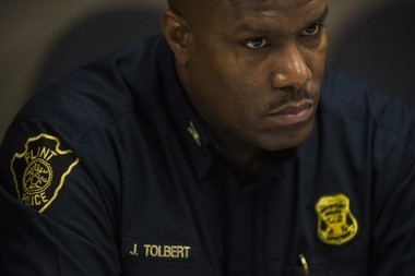 Flint Police Chief James Tolbert speaks during Mayor's office press briefing on Monday, May 18, 2015 at City Hall in Flint. Jake May | MLive.com