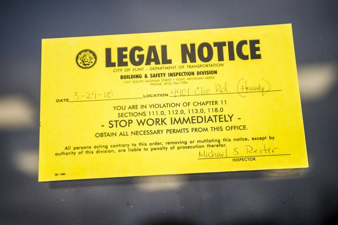 An order posted at the planned Hamady Food Center, located near the intersection of Clio and Pierson Roads, on Monday, April 9, 2018, on Flint's north side. Jake May | MLive.com