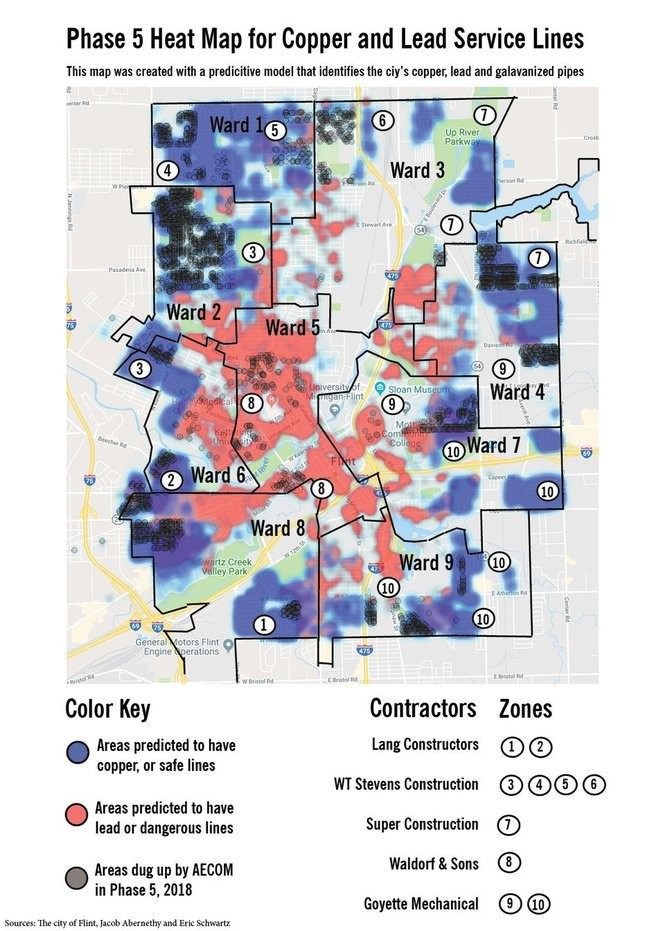 This heat map shows were lead lines are historically known and statistically predicted to be in the city of Flint. It was created using information from the city, researchers and a predictive computer model that identifies where hazardous lines are.