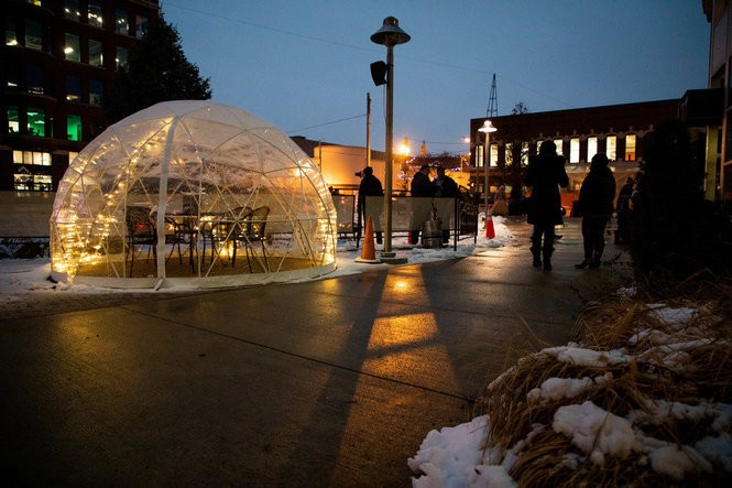 Mid-Michigan businesses roll out heated igloos for outdoor diners