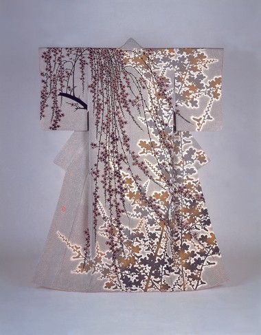 "Kimono""Flowers,""Yuzen style dyeing by Moriguchi Kak (1909-2008)1983. Silk. Photo courtesy of The Museum of Modern Art, Shiga, Japan."