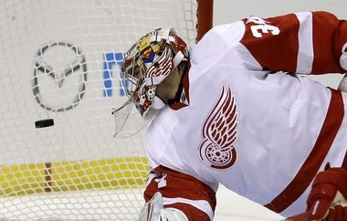 Detroit Red Wings rookie goaltender Petr Mrazek watches a shot by St. Louis' Alex Pietrangelo sail into the net for the only goal he allowed during a 5-1 victory over the Blues in his NHL debut.