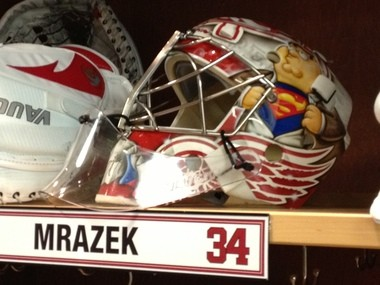 """Petr Mrazek figured it made sense to put Peter Griffin on his mask, even though he doesn't watch """"Family Guy.''"""