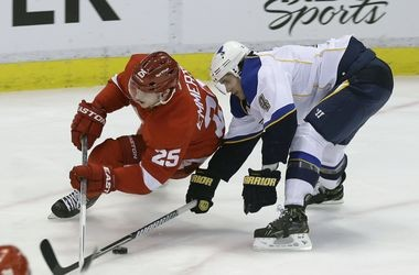 Cory Emmerton likely will be centering the fourth line when the Red Wings open the season on Wednesday.