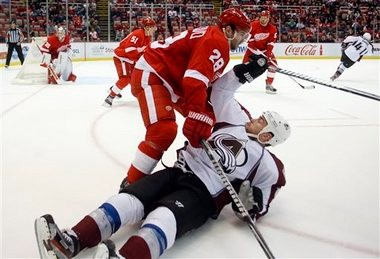 Detroit's Carlo Colaiacovo, seen here checking Colorado's Ryan O'Reilly, had been a healthy scratch in recent weeks.