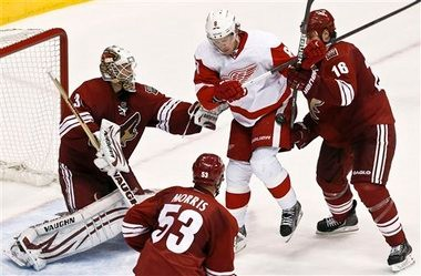 The Red Wings and Justin Abdelkader were contained by the Coyotes when the teams met on April 4.