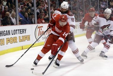 Gustav Nyquist, battling with Phoenix's Boyd Gordon, elevated his game in the playoffs for the Red Wings.