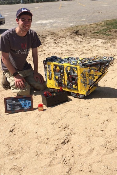 Harkema was at Morley Park with his Sandcrawler, controller and award plaque from Brickworld.