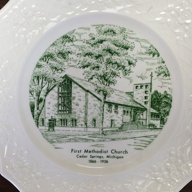 At one point in the church's long history, its people celebrated with commemorative plates. At this point the United Methodist Church of Cedar Springs was known as First Methodist.