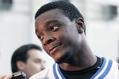 Detroit Lions wide receiver Charles Rogers listens to a reporter's question after working out Nov. 2, 2005, in Allen Park, Mich. Rogers returned to the active roster following his four-game suspension for violating the NFL's Substance Abuse Policy.